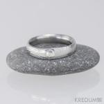 Prima - zásnubní snubní prsten damasteel a moissanite do stříbra_3848
